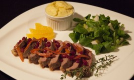 Duck Breast with Potato Souffle and Pear Salad