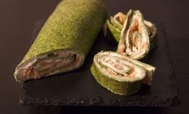Salmon-Spinach-Cream Cheese Roll