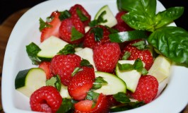 Vegetable-Fruit Salad Recipe: Strawberries, Raspberries, Zucchini and Basil