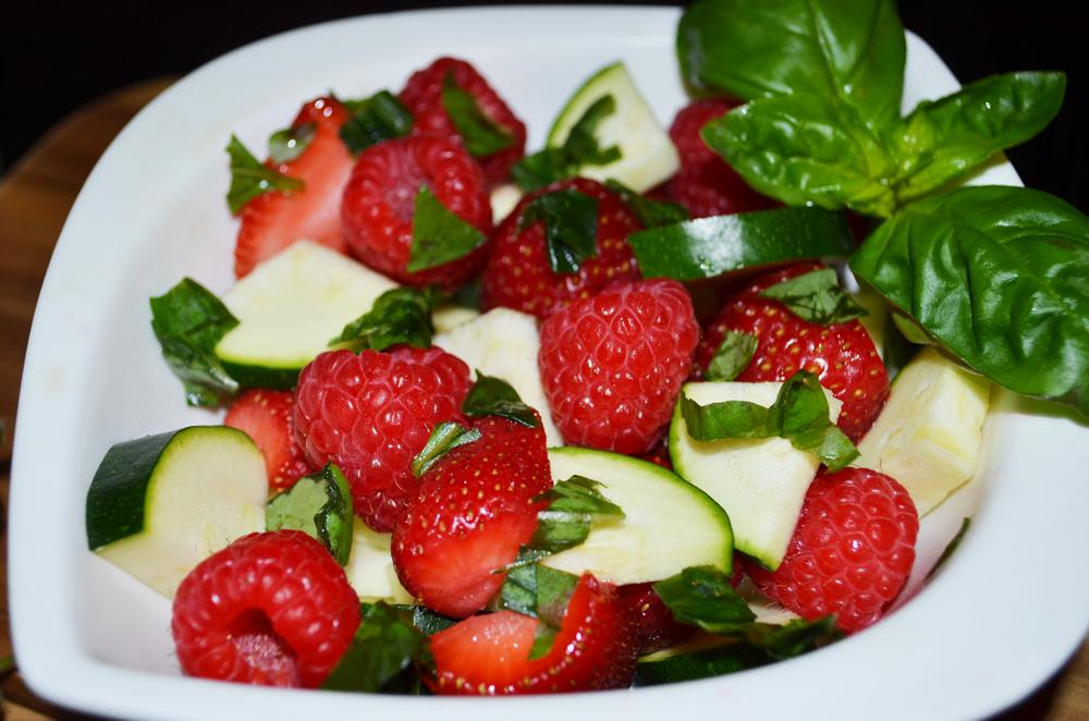 Vegetable-Fruit Salad Recipe: Strawberries, Raspberries, Zucchini and Basil