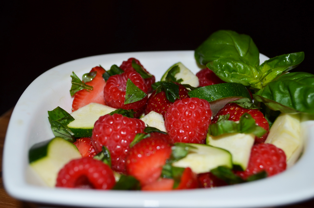 Vegetable-Fruit Salad Recipe: Strawberries, Raspberries, Zucchini and Basil 2